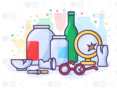 Waste Glass Recycling and Sorting dishes jar garbage crystal design illustration separation sort recycled ecological utilization ecology record glass waste trash sorting recycle