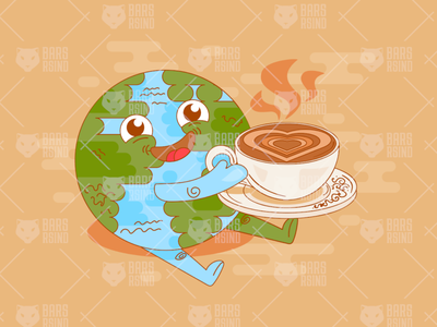 Planet earth coffee break time enjoyment vector cup holding globe smiling funny vector enjoyment time break coffee earth planet