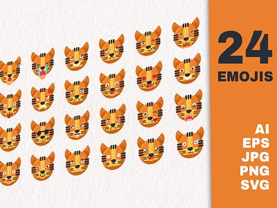 Tiger Cartoon Emoji Set smiling animal cat jungle cool vector set collection mood different emoji tiger