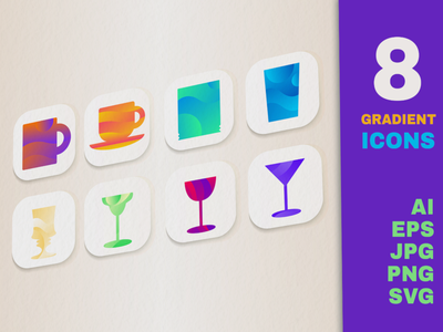 Gradient Drink Icons Set coffee drink mug glassware collection vector set icon water drinking glass cup