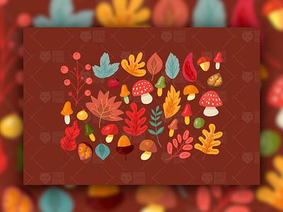 Autumn Leaves And Mushrooms Set seasonal rosehip cranberry walnut acorn vector set berry mushroom leaves tree autumn