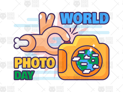 World Photo Day Illustration device camera digital photo making hand vector holiday celebration day photography world