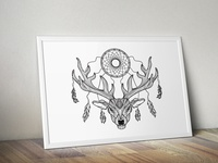 Boho Deer With Dreamcatcher in Horns