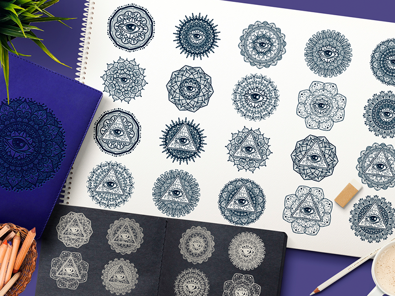 Mystical Mandala With Eye In Triangle by barsrsind on Dribbble
