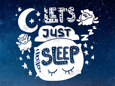 Nice Night Overlay - Lets Just Sleep night moon pillow dream sleeping sleep sheep lettering positive optimism motivation typography