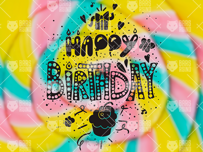 Vintage Happy Birthday Overlay birth holiday sweet card greeting text lettering cake cupcake gift birthday happy