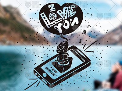 I love You - Message From Smartphone day valentine love romantic typography vintage calligraphy mobile wedding retro smartphone message