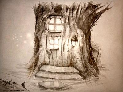 Concept ART concept art tree house light brown sketch windows wood glow water jaydenart