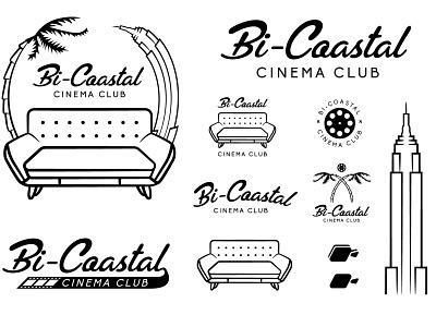 Bi-Coastal Cinema Club Branding empire state building palm tree illustration badge design movie club logo new york city california logo design brand logo branding design