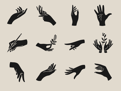 Hands icon collection by Laymik figuredrawing solid color naturalism hand signals glyph vectorart illustration gesture hands