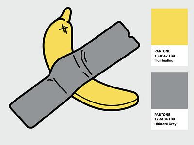 """Modern Art"" icon by Olena Panasovska. ultimate gray illuminating basel banana pantone2021 color of the year pantone banana icon design icon"