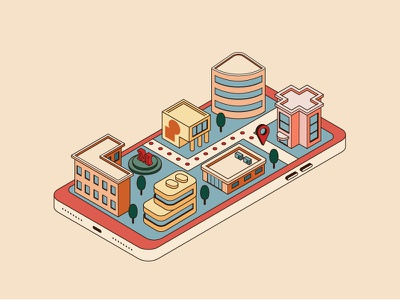 Isometric city in the phone flat vector design illustration phone city isometric