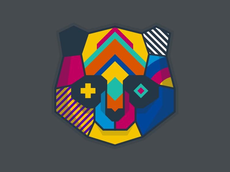 Hello Dribbble! graphic design illustrator t-shirt panda animals poster print logo flat vector design illustration