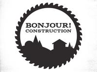 Bonjour! Construction logo - grayscale