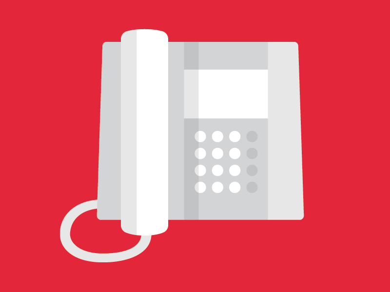 desk phone flatish black and white red phone illustration
