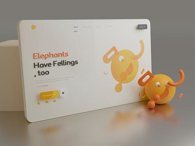 Elephant - 3D Landing Page market place yellow 3d landing orenge landing page elephant nft illustration design art concept animation branding logo motion graphics graphic design 3d ui