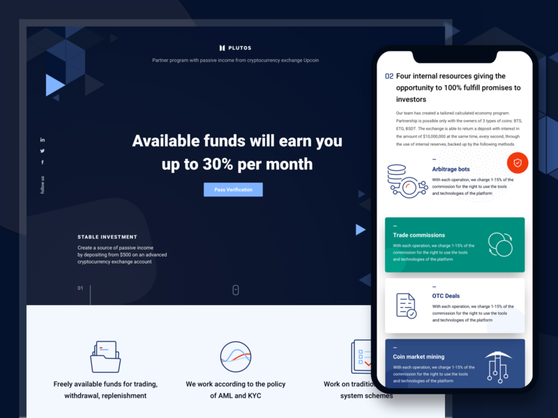 Finance / Cryptocurrency Adaptive Landing Page mobile mobile version adaptive landingpage cryptocurrency modern icons illustration finance responsive design sketch