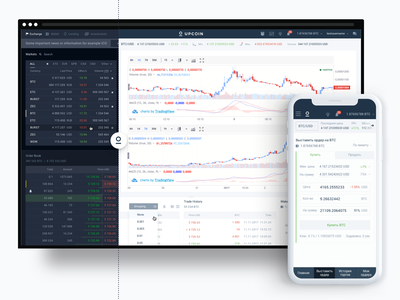 UpCoin crypto exchange panel interface responsive crypto exchange service app user interface mobile finance sketch banking blockchain cryptocurrency control panel user experience ux dashboad ui cryptocurrency exchange