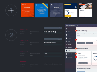Part of the style guide of one of the oldest work service design service saas design system styleguide ux interface control panel dashboad ui user interface user experience ux