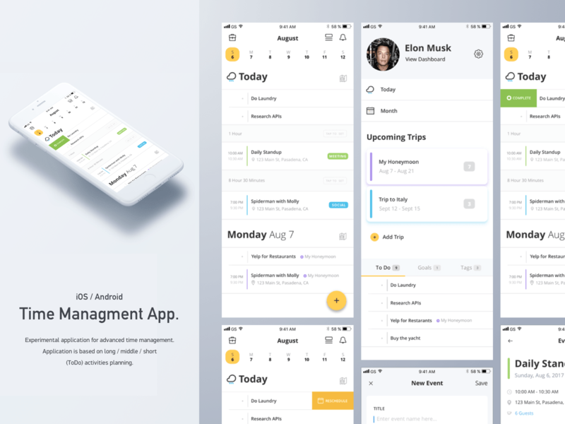 Time Management iOS/Andriod App mobile application andriod ios app design mobile design mobile app mobile time management finance ui interface user interface design sketch