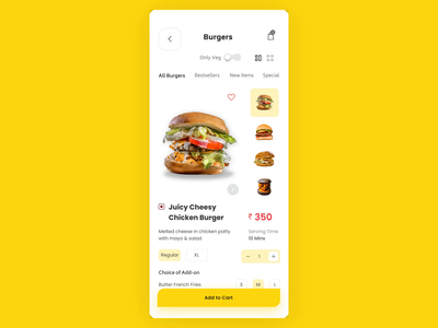Burger Selection UI Animation ux design vector ui minimal app animation