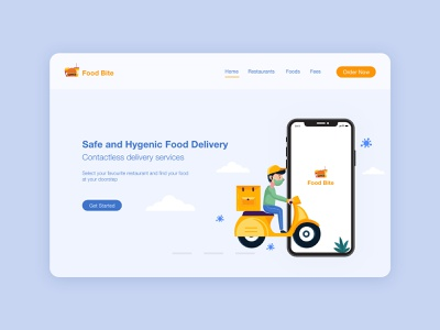 Food Delivnery Landinag page Design illustration vector icon minimal typography branding app logo ux design