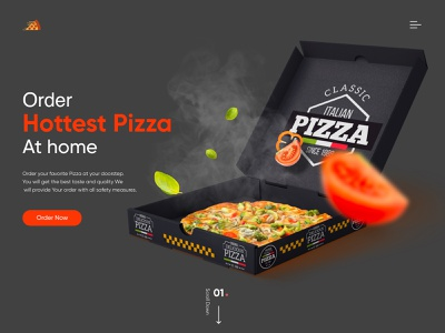 Pizza Web landing page design illustrator typography animation web logo ux branding design vector illustration
