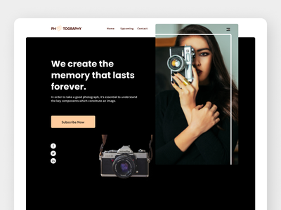 Photography Landing Page ui illustration design branding ux