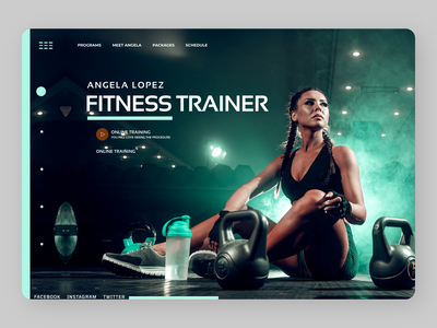 Fitness Trainer Landing Page illustrator icon app typography logo illustration design branding ux