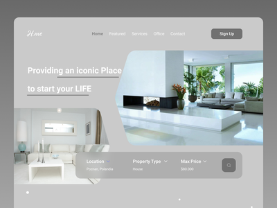 Home Decor Landing Page illustrator website minimal web typography ui design ux