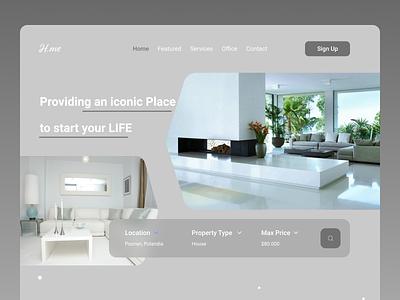 Home Decor Landing Page illustrator website minimal web typography ui design ux