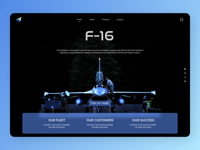 F-16 Landing Page minimal web typography branding design ux