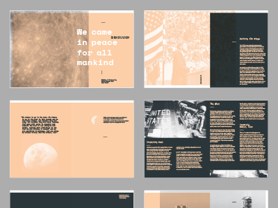 We Chose to go to the Moon magazine design magazine layout design layout photos nasa navy peach