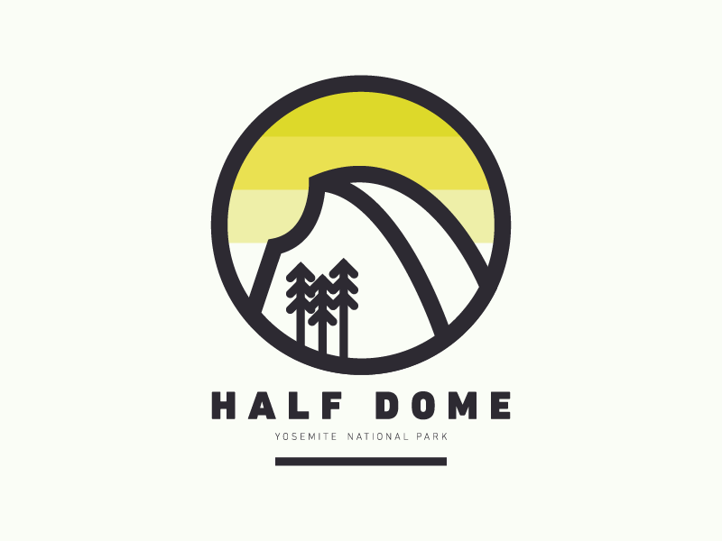 Yosemite National Parks post a thing make a thing fun illustration half dome sunset yellow centennial california yosemite national parks