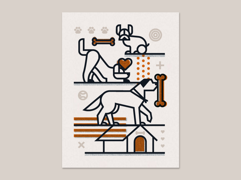 Afterhours Poster screen print poster illustration black copper doge puppers dogs afterhours