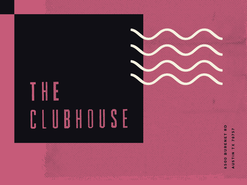 The Clubhouse creme black blush branding music venue music sound wave texture