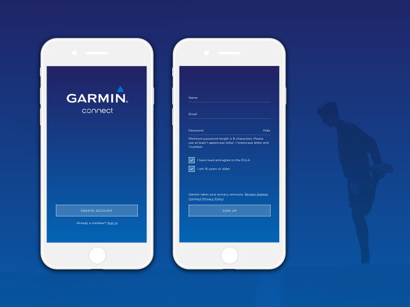 Garmin Connect app running gradient blue sign up daily ui