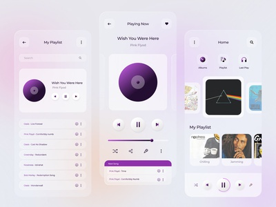 Music Player app cleanui clean ui graphic design music app glassmorphism mobile ui ux ui design app