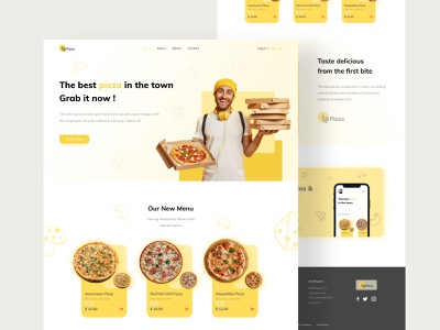 LaPizza - Landing Page exploration uiuxdesign uiux uidesign interface interaction design yellow food pizza webdesign landingpage ux cleanui ui design