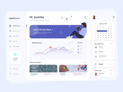 Learnmore - Dashboard blue ui  ux design ui  ux study app learning platform study uxdesign dashboard ui interface interaction design exploration uiux uidesign design cleanui ui design ui ux