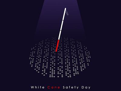 Poster Design for White Cane Safety Day graphic design graphic minimal white cane safety day safety white cane poster art poster design poster a day poster digital art design