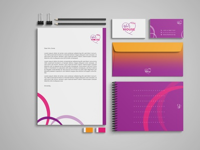 Stationary Design for Ashas House Charity envelope notebook business cards business card charity colors colorful identity branding mockups identity design mockup design mockup digital art brand digital branding design