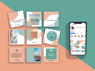 Social Media Layout Design blue pink instagram post instagram layout design layout social media design socialmedia digital digital art design