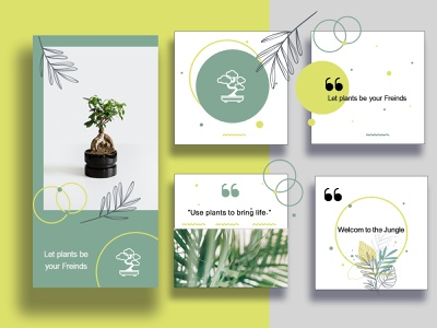 Social Media Layout Design instagram stories instagram post instagram layout layout design social media design socialmedia green plant illustration plants illustration mockup digital digital art brand branding design