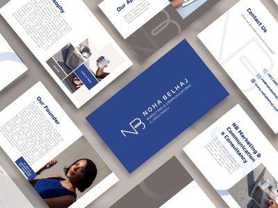 Business Profile Design for Noha Belhaj minimal blue business presentation business profile business profile presentation design presentation mockups identity design mockup design mockup brand identity branding branding digital art digital design