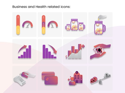 Icon Design for Business and Health related icons colorful 2d 2d art icon design icon graphic design branding digital art identity branding logo illustration ui vector digital design