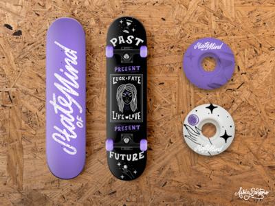 Tarot Inspired Skateboard mockup graphic design design lettering tarot deck skate package design product design skateboard