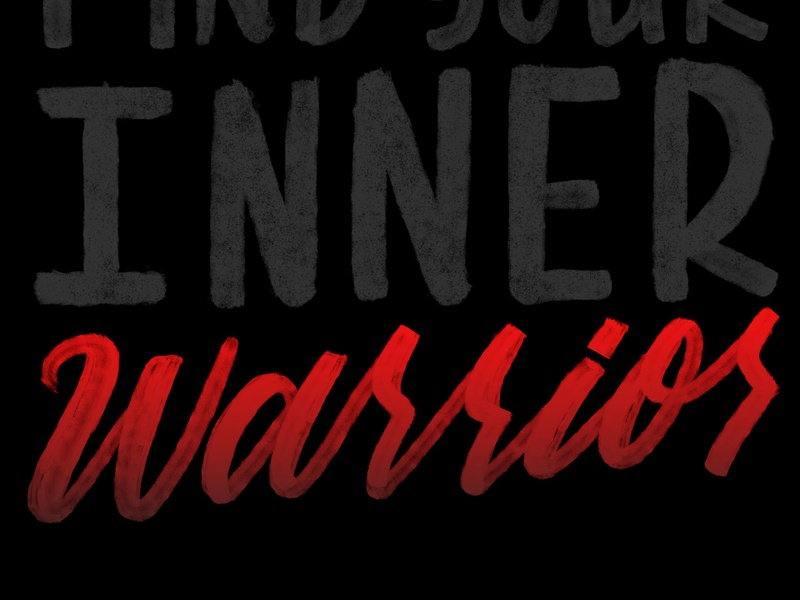 Inner Warrior sports warrior brush and ink brush lettering calligraphy photoshop typography type hand lettering lettering
