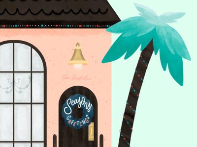 Paradise House holiday texture digital drawing palmtree beach house house illustration illustrator