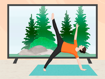 Yoga in the forest editorial technology wellness yoga digital drawing photoshop illustration